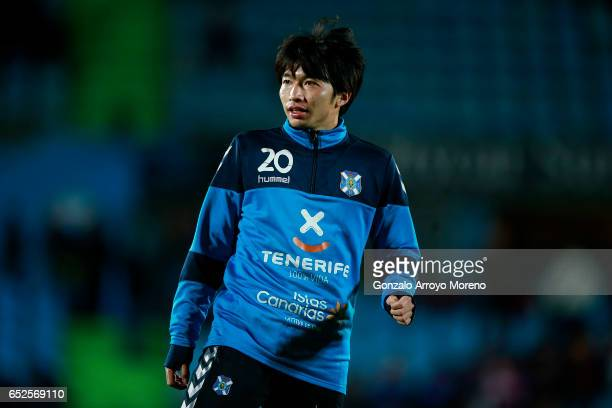 Gaku Shibasaki of Tenerife looks on as he warms up before the La Liga second league match between Getafe CF and Tenerife at Coliseum Alfonso Perez on...