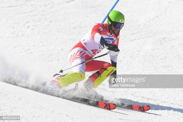 Gakuta Koike of Japan competes in the Alpine Skiing Men's Slalom Standing on day eight of the PyeongChang 2018 Paralympic Games on March 17 2018 in...