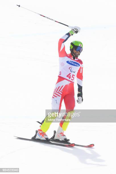 Gakuta Koike of Japan reacts after competing in the Alpine Skiing Men's Slalom Standing on day eight of the PyeongChang 2018 Paralympic Games on...