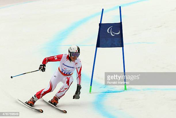 Gakuta Koike of Japan trains in the Men's Downhill Standing Ski event at Rosa Khutor Alpine Center on March 5 2014 ahead of the 2014 Paralympic...
