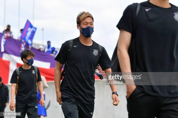 Gakuto NOTSUDA of Ventforet Kofu is seen on arrival at the stadium prior to the J.League Meiji Yasuda J2 match between Ventforet Kofu and Blaublitz...