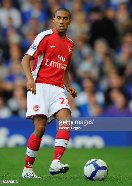 Gaël Clichy of Arsenal during the Barclays Premier League match between Everton and Arsenal at Goodison Park on August 15 2009 in Liverpool England