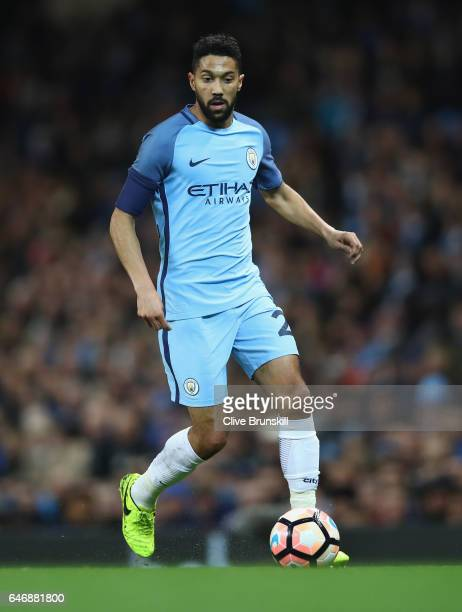 Gaël Clichy of Manchester City in action during the The Emirates FA Cup Fifth Round replay match between Manchester City and Huddersfield Town at...