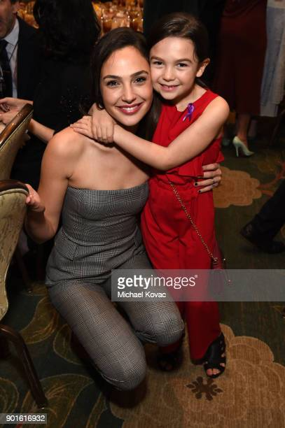 Gal Gadot and Brooklynn Prince attend the 18th Annual AFI Awards at Four Seasons Hotel Los Angeles at Beverly Hills on January 5 2018 in Los Angeles...