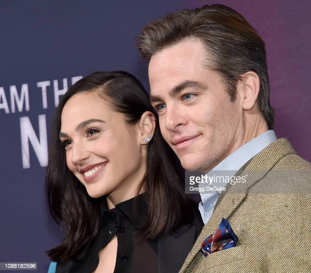 """Gal Gadot and Chris Pine attend the Premiere Of TNT's """"I Am The Night"""" at Harmony Gold on January 24, 2019 in Los Angeles, California."""