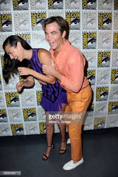 Gal Gadot and Chris Pine attend the Warner Bros 'Wonder Woman 1984' theatrical panel during ComicCon International 2018 at San Diego Convention...