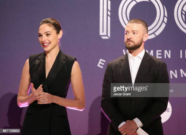 Gal Gadot and Justin Timberlake speak onstage at The Hollywood Reporter's 2017 Women In Entertainment Breakfast at Milk Studios on December 6 2017 in...