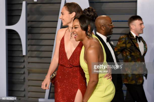 Gal Gadot and Tiffany Haddish attend the 2018 Vanity Fair Oscar Party Hosted By Radhika Jones Arrivals at Wallis Annenberg Center for the Performing...