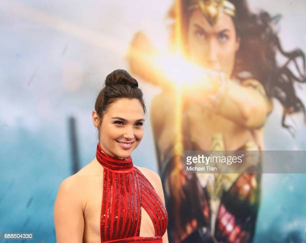 "Gal Gadot arrives at the Los Angeles premiere of Warner Bros. Pictures' ""Wonder Woman"" held at the Pantages Theatre on May 25, 2017 in Hollywood,..."