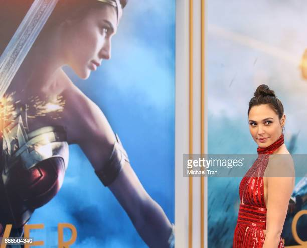 Gal Gadot arrives at the Los Angeles premiere of Warner Bros Pictures' 'Wonder Woman' held at the Pantages Theatre on May 25 2017 in Hollywood...