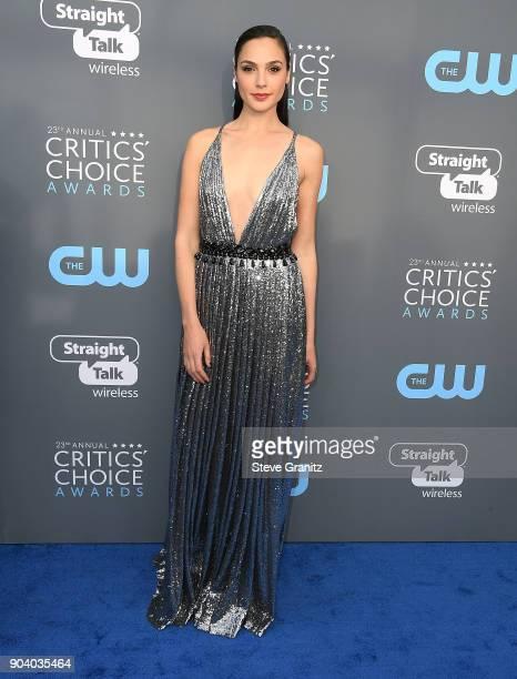 Gal Gadot arrives at the The 23rd Annual Critics' Choice Awards at Barker Hangar on January 11 2018 in Santa Monica California