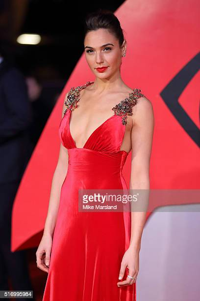 Gal Gadot arrives for the European Premiere of 'Batman V Superman: Dawn Of Justice' at Odeon Leicester Square on March 22, 2016 in London, England.