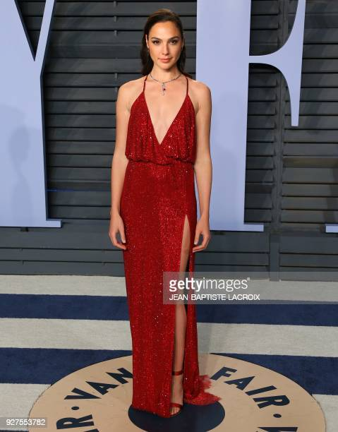 Gal Gadot attends the 2018 Vanity Fair Oscar Party following the 90th Academy Awards at The Wallis Annenberg Center for the Performing Arts in...