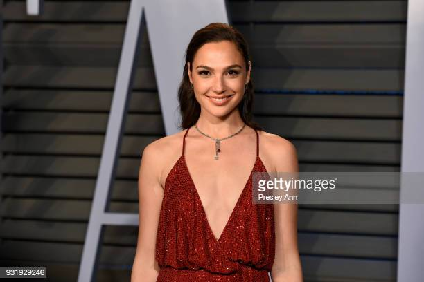 Gal Gadot attends the 2018 Vanity Fair Oscar Party Hosted By Radhika Jones Arrivals at Wallis Annenberg Center for the Performing Arts on March 4...