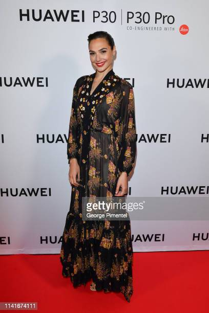 Gal Gadot attends the Canadian launch for the new Huawei P30 Series held at the Carlu on April 09 2019 in Toronto Canada