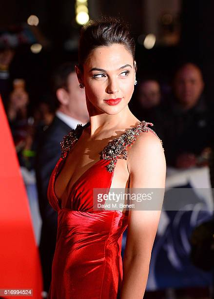 """Gal Gadot attends the European Premiere of """"Batman V Superman: Dawn Of Justice"""" at Odeon Leicester Square on March 22, 2016 in London, England."""