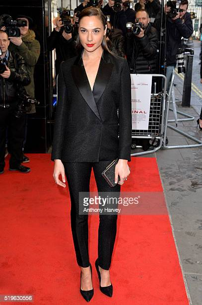 Gal Gadot attends the UK premiere of 'Criminal' at The Curzon Mayfair on April 7 2016 in London England