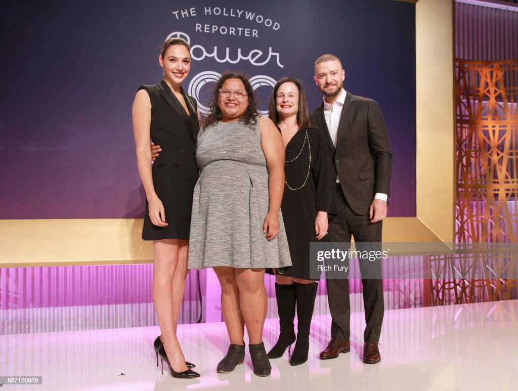 Gal Gadot, Carla Arellano, Laurie Zaks and Justin Timberlake pose onstage at The Hollywood Reporter's 2017 Women In Entertainment Breakfast at Milk Studios on December 6, 2017 in Los Angeles, California.