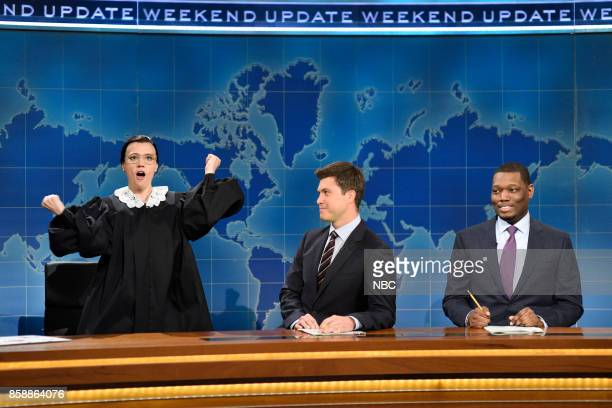 LIVE Gal Gadot Episode 1727 Pictured Kate McKinnon as Ruth Bader Ginsburg Associate Justice of the Supreme Court of the United States Colin Jost...