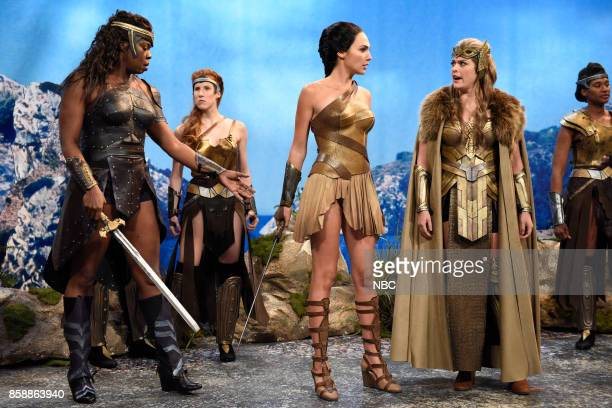 LIVE 'Gal Gadot' Episode 1727 Pictured Leslie Jones Gal Gadot as Diana Cecily Strong during 'Themyscira' in Studio 8H on October 7 2017