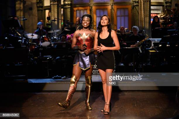 """Gal Gadot"""" Episode 1727 -- Pictured: Leslie Jones, Gal Gadot during the opening Monologue in Studio 8H on October 7, 2017 --"""