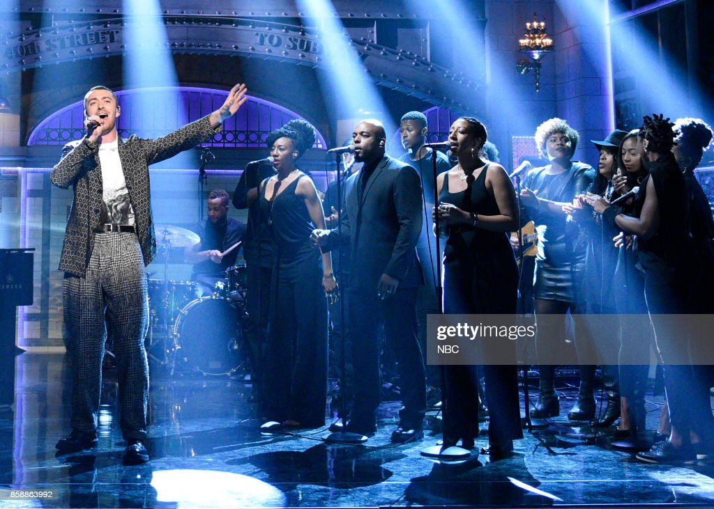 LIVE -- 'Gal Gadot' Episode 1727 -- Pictured: Sam Smith performs 'Pray' in Studio 8H on October 7, 2017 --