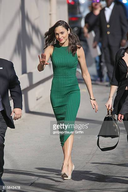 Gal Gadot is seen arriving at Jimmy Kimmel Live on March 15 2016 in Los Angeles California