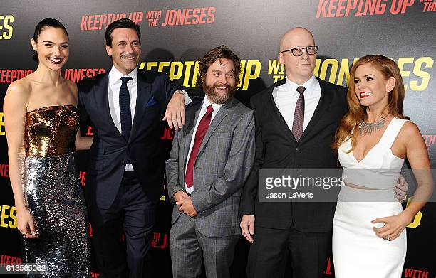 Gal Gadot Jon Hamm Zach Galifianakis Greg Mottola and Isla Fisher attend the premiere of 'Keeping Up with the Joneses' at Fox Studios on October 8...