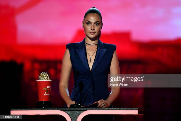 Gal Gadot onstage during the 2019 MTV Movie and TV Awards at Barker Hangar on June 15, 2019 in Santa Monica, California.