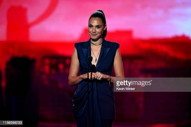 Gal Gadot onstage during the 2019 MTV Movie and TV Awards at Barker Hangar on June 15 2019 in Santa Monica California