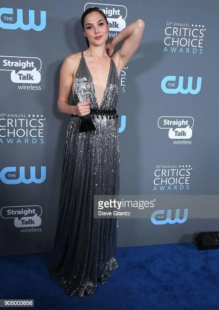 Gal Gadot poses at the The 23rd Annual Critics' Choice Awards at Barker Hangar on January 11 2018 in Santa Monica California