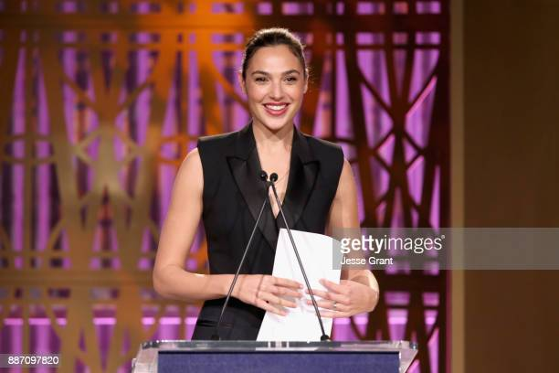 Gal Gadot speaks onstage at The Hollywood Reporter's 2017 Women In Entertainment Breakfast at Milk Studios on December 6 2017 in Los Angeles...