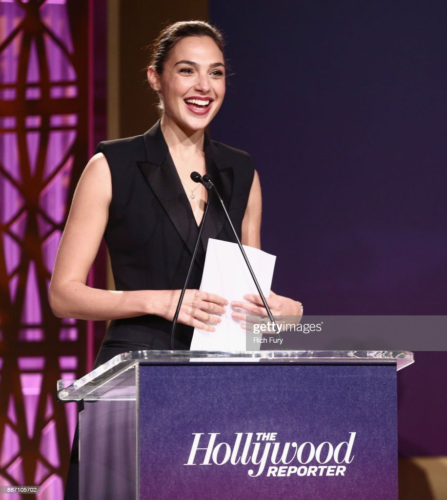 Gal Gadot speaks The Hollywood Reporter's 2017 Women In Entertainment Breakfast at Milk Studios on December 6, 2017 in Los Angeles, California.