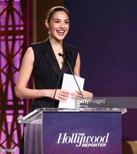 Gal Gadot speaks The Hollywood Reporter's 2017 Women In Entertainment Breakfast at Milk Studios on December 6 2017 in Los Angeles California
