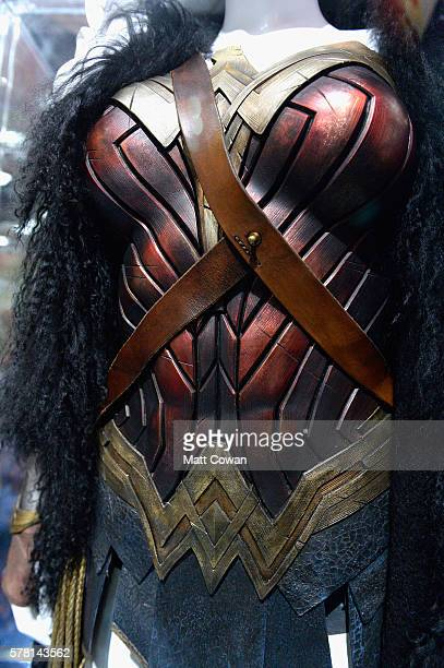 Gal Gadot's costume and armor from Wonder Woman displayed at ComicCon International 2016 preview night on July 20 2016 in San Diego California
