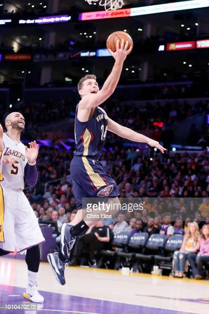 Gal Mekel of the New Orleans Pelicans goes to the basket against the Los Angeles Lakers on December 7 2014 at the Staples Center in Los Angeles...