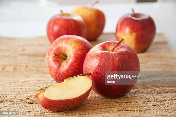 gala apples on burlap - gala stock pictures, royalty-free photos & images