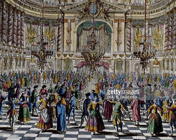 Gala ball colour engraving Italy 18th century Detail