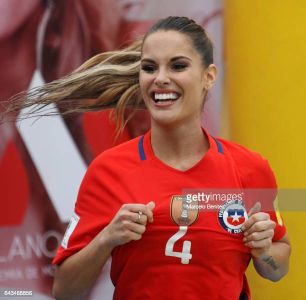 Gala Caldirola candidate for Queen of the Viña del Mar Festival 2017 celebrates during a water football game as part of the Viña del Mar Festival...
