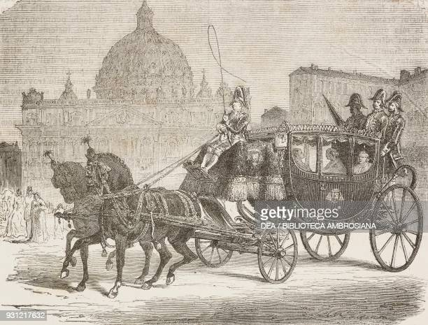 Gala carriage drawing by Emile Antoine Bayard after a sketch by Benjamin Ulmann from Holy Week in Rome by Ludovic Celler from Il Giro del mondo...