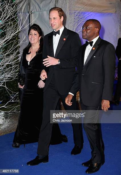 Gala Chair Danielle Alexandra and Prince William Duke of Cambridge arrives at Kensington Palace for the Centrepoint Winter Whites Gala on November 26...