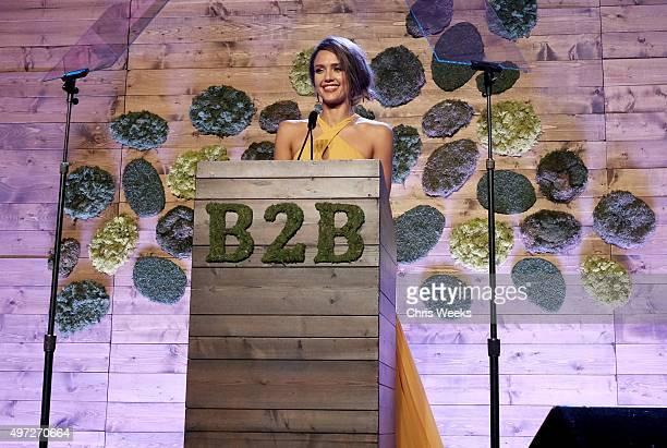 Gala chair member Jessica Alba speaks at the 2015 Baby2Baby Gala presented by MarulaOil Kayne Capital Advisors Foundation honoring Kerry Washington...