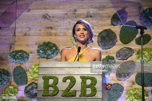 Gala chair member Jessica Alba speaks onstage at the 2015 Baby2Baby Gala presented by MarulaOil Kayne Capital Advisors Foundation honoring Kerry...