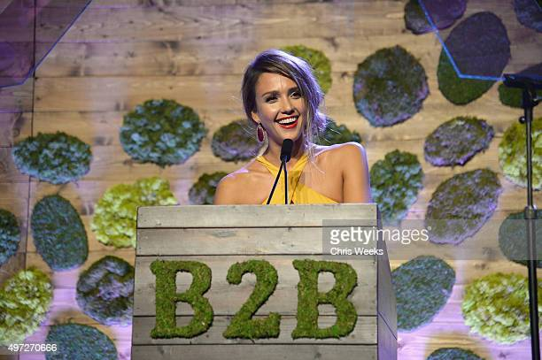 Gala chairmember Jessica Alba speaks at the 2015 Baby2Baby Gala presented by MarulaOil Kayne Capital Advisors Foundation honoring Kerry Washington at...