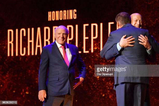Gala cochair Barry Diller gala honoree Richard Plepler and Bryan Lourd speak onstage during Lincoln Center's American Songbook Gala at Alice Tully...