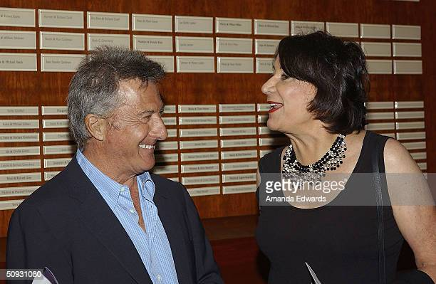 Gala CoChair Hanna Kennedy chats with actor Dustin Hoffman at the 15th Anniversary of the Los Angeles Chamber Orchestra's Silent Film Festival on...