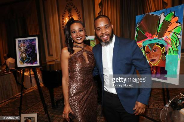 Gala coChair Janell Snowden and Demont Peekaso Pinder attend the 2018 AFUWI Gala at The Pierre Hotel on February 22 2018 in New York City