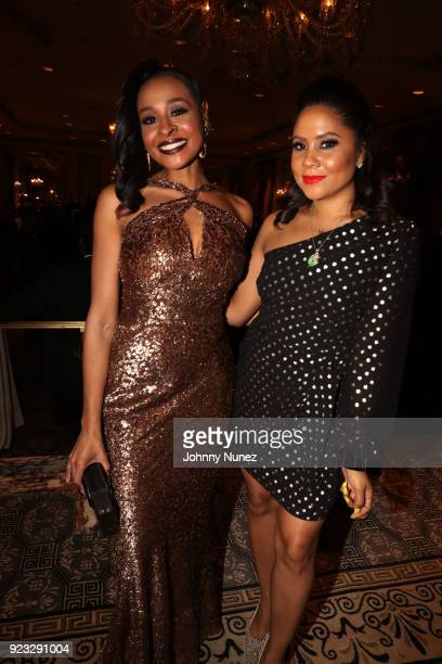 Gala CoChair Janell Snowden and honoree Angela Yee attend the 2018 AFUWI Gala at The Pierre Hotel on February 22 2018 in New York City