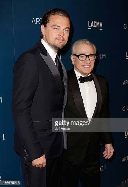 Gala Co-Chair Leonardo DiCaprio and honoree Martin Scorsese, wearing Gucci, attend the LACMA 2013 Art + Film Gala honoring Martin Scorsese and David...