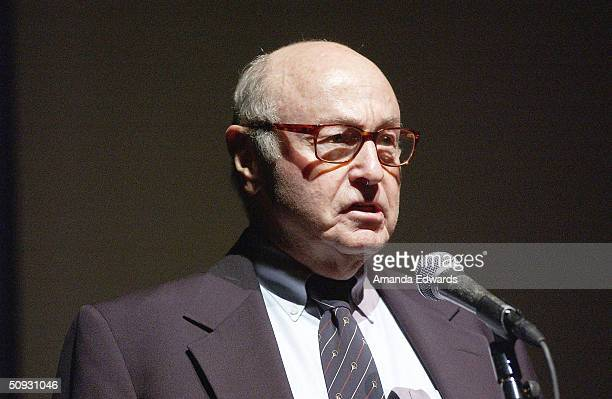 Gala CoChair Roger Mayer gives a speech at the 15th Anniversary of the Los Angeles Chamber Orchestra's Silent Film Festival on June 5 2004 at UCLA's...